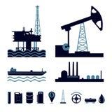 Sistema del icono de la industria de petróleo Fotos de archivo