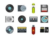 Sistema del icono de la información del almacenamiento, estilo plano stock de ilustración