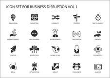 Sistema del icono de la interrupción del negocio de Digitaces ilustración del vector