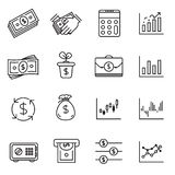 Sistema del icono de la inversión y dinero financiero libre illustration