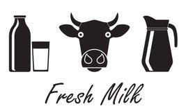 Sistema del icono de la leche y de la lechería Concepto fresco de la leche Ilustración del vector ilustración del vector