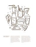 Sistema del icono de la lechería en la línea diseño del estilo libre illustration