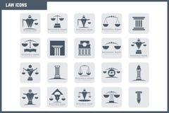 Sistema del icono de la ley del vector Fotografía de archivo libre de regalías