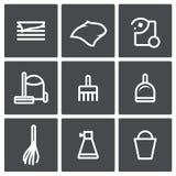 Sistema del icono de la limpieza Imagenes de archivo