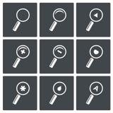Sistema del icono de la lupa Fotografía de archivo