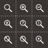 Sistema del icono de la lupa del vector Foto de archivo libre de regalías