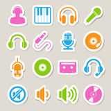Sistema del icono de la música. Foto de archivo