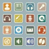 Sistema del icono de la música. Fotos de archivo