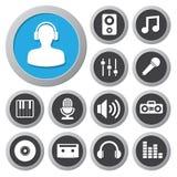 Sistema del icono de la música Fotografía de archivo