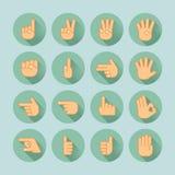 Sistema del icono de la mano Foto de archivo