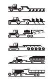 Sistema del icono de la maquinaria agrícola ilustración del vector