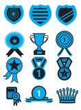 Sistema del icono de la medalla del premio Foto de archivo libre de regalías