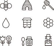 Sistema del icono de la miel y de la abeja Foto de archivo libre de regalías