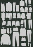Sistema del icono de la moda de la ropa y de los accesorios Hombres y mujeres Imagen de archivo