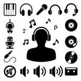 Sistema del icono de la música. Imagen de archivo libre de regalías