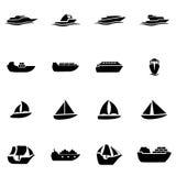 Sistema del icono de la nave y del barco del negro del vector Imagenes de archivo