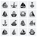 Sistema del icono de la nave y del barco del vector Foto de archivo