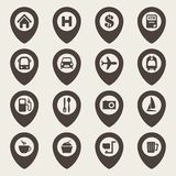 Sistema del icono de la navegación del mapa Fotografía de archivo libre de regalías