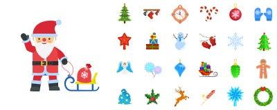 Sistema del icono de la Navidad, estilo plano ilustración del vector