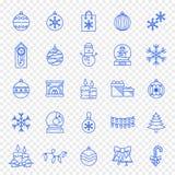 Sistema del icono de la Navidad - iconos de Navidad de 25 azules y del Año Nuevo ilustración del vector
