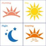 Sistema del icono de la noche de la tarde del día de la mañana Fotografía de archivo