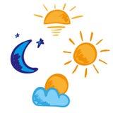 Sistema del icono de la noche de la tarde del día de la mañana Imágenes de archivo libres de regalías