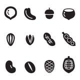 Sistema del icono de la nuez Foto de archivo libre de regalías