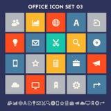 Sistema del icono de la oficina 3 Botones planos cuadrados multicolores Fotografía de archivo libre de regalías