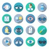 Sistema del icono de la oftalmología Fotografía de archivo libre de regalías