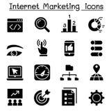 Sistema del icono de la optimización del márketing y del Search Engine de Internet stock de ilustración
