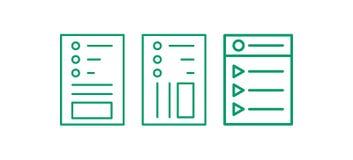 Sistema del icono de la página web Corrija la línea logotipo Illustation del vector de la nota ilustración del vector
