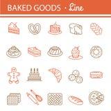 Sistema del icono de la panadería Imágenes de archivo libres de regalías