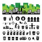 Sistema del icono de la papelera de reciclaje Imágenes de archivo libres de regalías