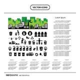 Sistema del icono de la papelera de reciclaje Fotos de archivo
