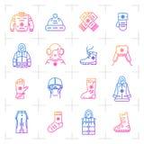 Sistema del icono de la pendiente del vector de la ropa del invierno de la tendencia, símbolos del web Imágenes de archivo libres de regalías