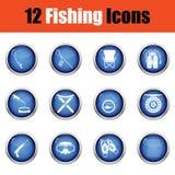 Sistema del icono de la pesca ilustración del vector