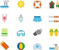 Sistema del icono de la piscina Imagen de archivo libre de regalías