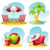 Sistema del icono de la playa Fotografía de archivo