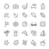 Sistema del icono de la playa del movimiento del esquema Foto de archivo libre de regalías