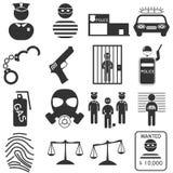 Sistema del icono de la policía Fotografía de archivo