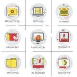 sistema del icono de la producción de la industria del fichero de Modern Technology Project de la impresora 3d Imagen de archivo