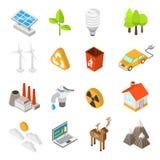 Sistema del icono de la protección de la ecología y del medio ambiente ilustración del vector