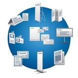Sistema del icono de la publicidad de la impresión Imágenes de archivo libres de regalías