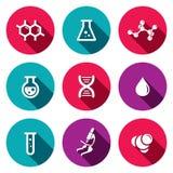 Sistema del icono de la química Fotografía de archivo