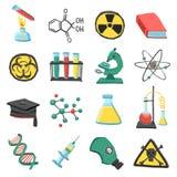 Sistema del icono de la química del laboratorio Fotos de archivo