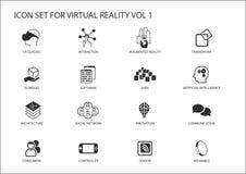 Sistema del icono de la realidad virtual (VR) Símbolos múltiples en diseño plano ilustración del vector