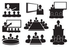 Sistema del icono de la reunión de negocios Foto de archivo libre de regalías