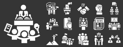 Sistema del icono de la reunión política, estilo simple stock de ilustración