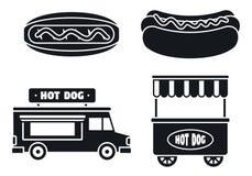 Sistema del icono de la salchicha del perrito caliente, estilo simple ilustración del vector
