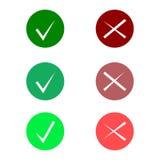 Sistema del icono de la señal El icono elegante de la marca de verificación fijó en el color verde y rojo, vector Imagen de archivo libre de regalías
